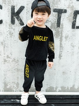 Ericdress Letter Print Bead Baby Boy's Sports Suit Hoodie Pants