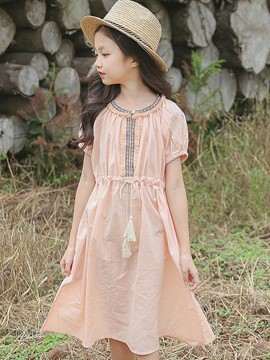 Ericdress Plain Lace Up A-Line Girl's Short Sleeve Dress