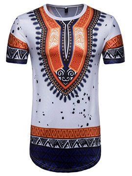 Ericdress Dashiki Mens Print Color Block Slim Short Sleeve T Shirt
