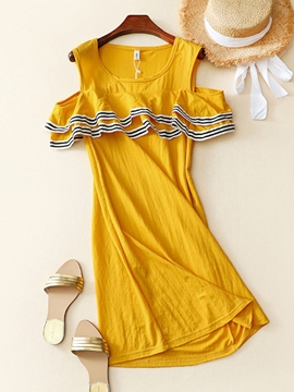 Ericdress Cold Shoulder Patchwork Round Neck Casual Dress