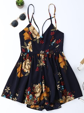 Ericdress Wide Leg Floral Print Women's Camisole Rompers