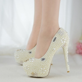 Ericdress Rhinestone Platform Stiletto Heel Wedding Shoes with Beads