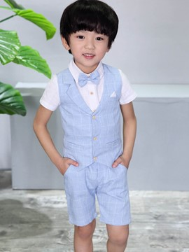 ericdress plaid patchwork boy's short manga chaleco camisa chaleco