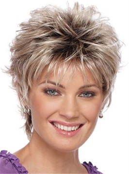 Ericdress Pixie Choppy Cut Human Hair Short Straight Capless Wigs 8Inch