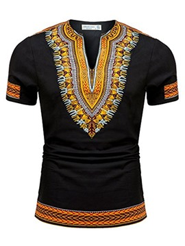 Men's Clothing Black Dashiki African Print Pullover T-shirt