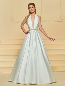 Ericdress Deep V Neck Backless Wedding Dress