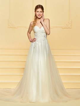 Ericdress A Line Sequins Appliques Wedding Dress