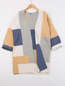 Ericdress Loose Color Block Mid-Length Single Knitwear