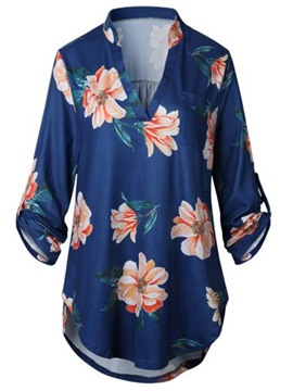 Ericdress Floral Print V-Neck Long Sleeve Tee