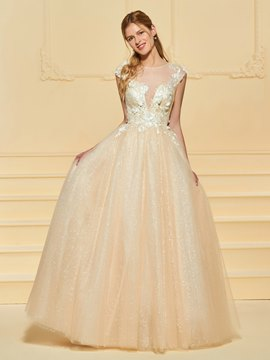 Ericdress Illusion Neckline A Line Color Wedding Dress