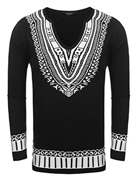 Ericdress Dashiki African Print V-neck Long Sleeve Men's T-shirt