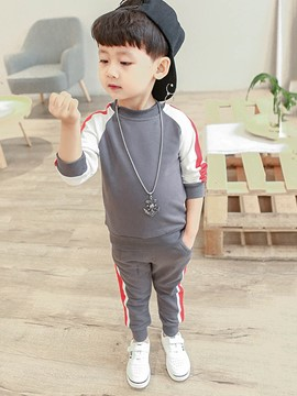 Ericdress Stripe Patchwork Boy's Sports Suit Hoodie Pants