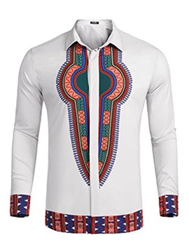 Ericdress Dashiki Lapel African Print Long Sleeve Men's T-shirt