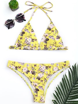 Ericdress Floral Yellow Lace-Up Halter Bowknot Bikini Suits