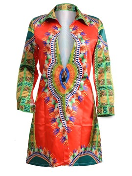 Ericdress Dashiki One Button Mid-Length Trench Coat