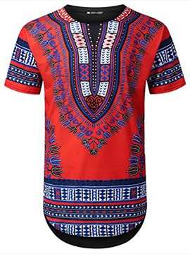 Ericdress Dashiki African Print Short Sleeve Men's T-shirt