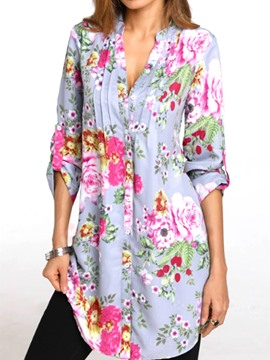 Ericdress Loose V-Neck Floral Mid-Length Blouse
