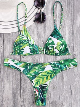 Ericdress Jpanese Banana Leaf Lace Up Halter Bikini Suits