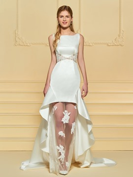 Ericdress Bateau Neck Appliques Beach Wedding Dress