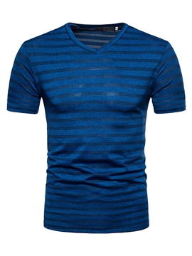 Ericdress Plain Short Sleeve Mens Stripe Desinged Tee Shirt
