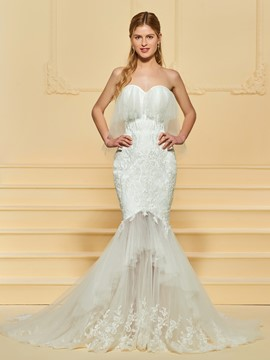 Ericdress Sweetheart Ruffles Appliques Mermaid Wedding Dress
