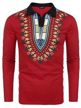 Ericdress Lapel African Print Long Sleeve Men's Polo Tee