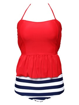 Ericdress Plus Size Stripe Polka Dots Plain Ruffles Pleated Halter Tankini Suits