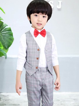 Ericdress Plaid Patchwork Boy's Suit Shirt Vest Pants