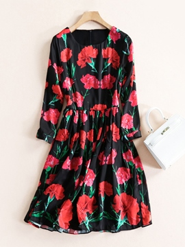 Ericdress Above Knee Floral Round Neck Spring Women's Day Dress