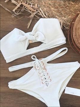 Ericdress Off the Shoulder Plain Front Tie High Waist White Bikini Suits