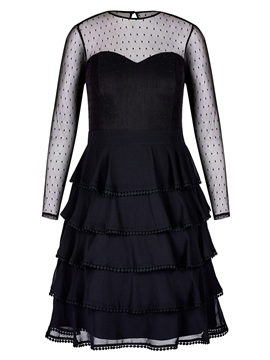 Ericdress See-Through Long Sleeve Plus A Line Layered Dress