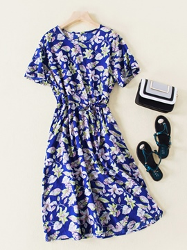 Ericdress Floral Printing Pullover Round Neck Women's Day Dress
