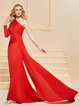 Ericdress One Shoulder Pleats Mermaid Red Evening Dress