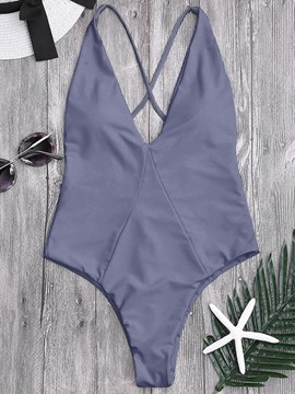 Ericdress Plain One Piece Swimwear Monokini