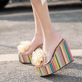Ericdress Floral Flip Flop Platform Wedge Heel Mules Shoes