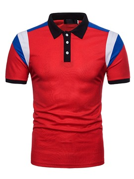 ericdress revers bouton bouton pull à manches courtes hommes t-shirt