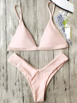 Ericdress Plain High Leg Triangle 2-Pcs Bikini Set