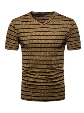 Ericdress Stripe Color Block Mens Short Sleeve Loose T Shirt