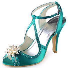 Ericdress Rhinestone Peep Toe Strappy Stiletto Heel Wedding Shoes