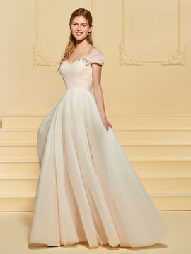 Ericdress Cap Sleeve Beading Beach Wedding Dress