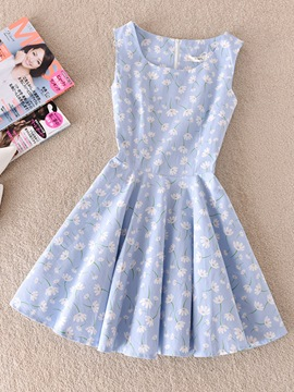 Ericdress Round Neck Sleeveless Print Women's Day Dress