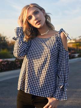 Ericdress Loose Plaid Cold Shoulder Bowknot Blouse