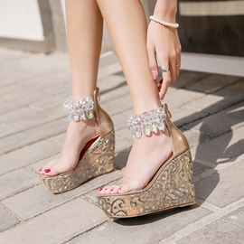 Ericdress Rhinestone Open Toe Platform Wedge Sandals