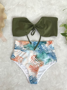 Ericdress Off Shoulder Bowknot Shape High Waist Bikini Set