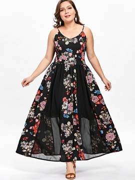 Ericdress Floral Backless Mesh Patchwork Maxi Dress