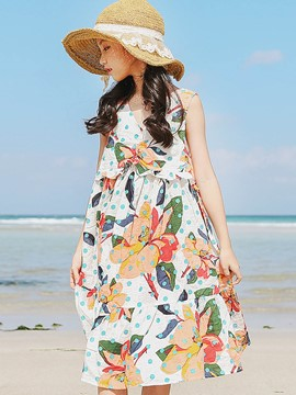 Ericdress V-Neck Floral Mid-Calf Sleeveless Girl's Beach Dress
