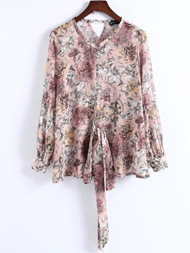 Ericdress Loose Floral Print Lace-Up Long Sleeve Blouse