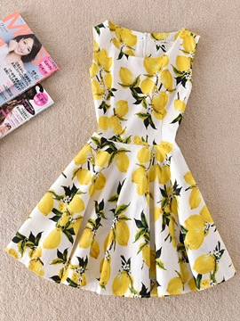 Ericdress White Yellow Floral Print Women's Day Dress