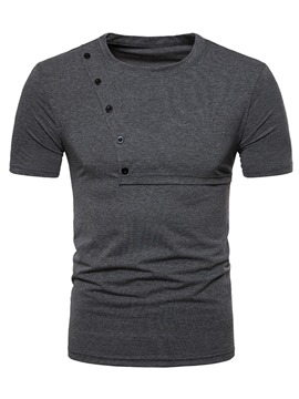 ericdress Plain Scoop Mens Kurzarm Knopf Design T-Shirt