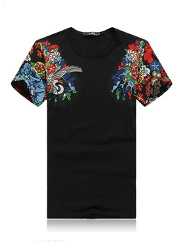 Ericdress Floral Print Mens Slim Short Sleeve T Shirt